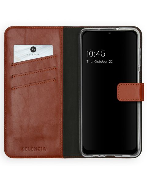 Echt Lederen Booktype Samsung Galaxy A12 - Lichtbruin - Lichtbruin / Light Brown