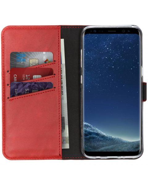 Echt Lederen Booktype Samsung Galaxy S8 - Rood / Red