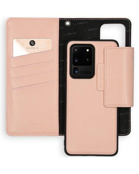 2-in-1 Uitneembare Vegan Lederen Bookcase Galaxy S20 Ultra - Roze / Pink